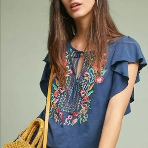 Anthropologie Tops - Anthropologie $88 embroidered boho top Ranna Gill